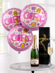 Celebratory Champagne and Baby Girl Balloonsr