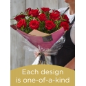 12 red rose hand-tied bouquet made with premium roses