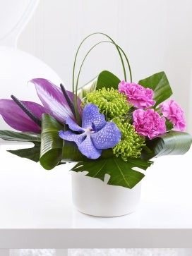 Carnation, Vanda Orchid and Anthurium Arrangement