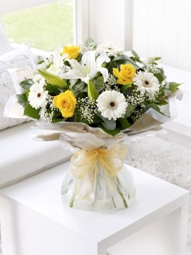 Lemon and White Sympathy Hand-tied