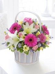 Pink and Cream Basket Arrangement