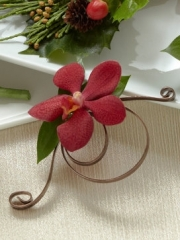 Red Mokara Orchid Boutonniere
