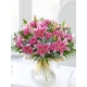 Pink Rose and Lily Sympathy Hand-Tied
