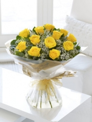 Heavenly Yellow Rose Hand-tied
