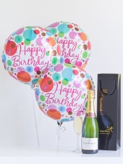 Champagne & Happy Birthday Balloons